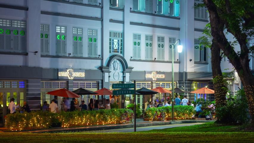 SINGAPORE - FEBRUARY 10, 2019: city night illuminated china town district crowded street cafe panorama 4k timelapse circa february 10 2019 singapore. | Shutterstock HD Video #1036139108