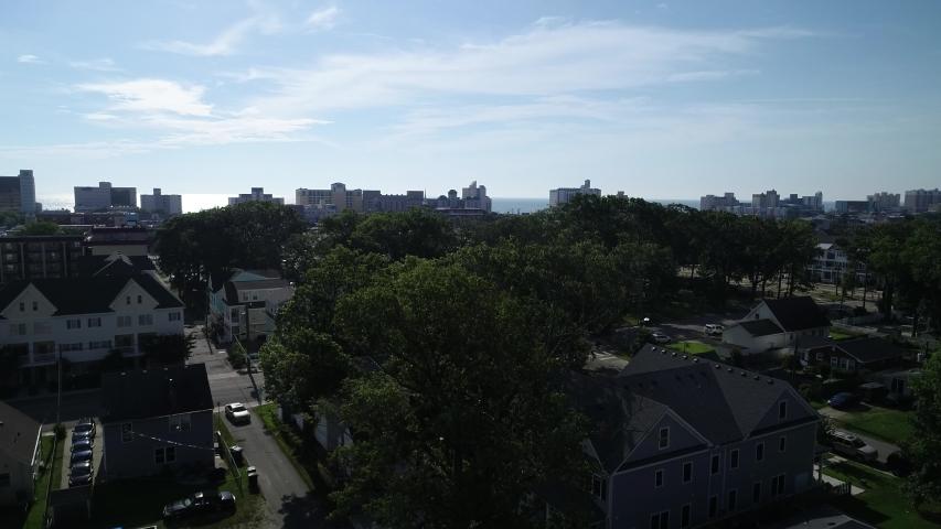 4K establishing aerial shot of Virginia Beach, Virginia, USA