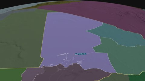 Timbuktu - region of Mali with its capital zoomed on the administrative map of the globe