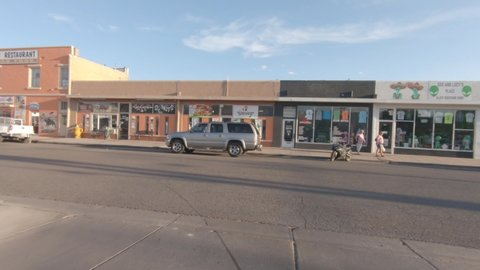 Roswell, new mexico / usa - circa august 2019, action camera view of  businesses catering to tourist coming to visit the ufo museum and take part  in the ufo culture