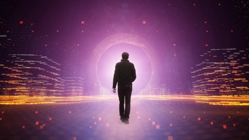 Mystic walking man in artistic artificial intelligence cyberspace network. | Shutterstock HD Video #1036349498