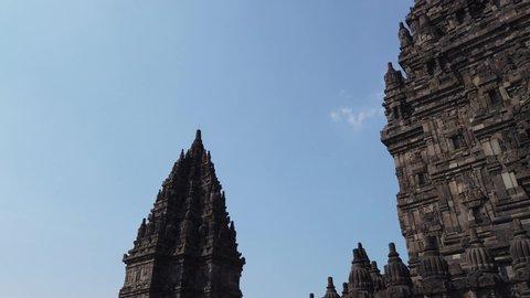 Jogjakarta / Indonesia - July, 1st 2019: Established Shot of Candi Prambanan (Prambanan Temple), Hinduism Temple in Java