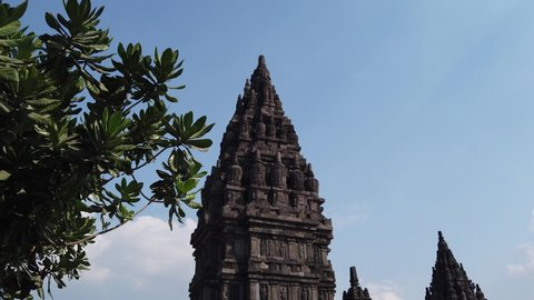 Jogjakarta / Indonesia - July, 1st 2019: HYPERLAPSE Established Shot of Candi Prambanan (Prambanan Temple), Hinduism Temple in Java
