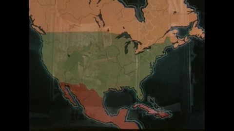 CIRCA 1960s - An animated map shows the Saint Lawrence Seaway and the Genesee River in Rochester, New York, in 1963.