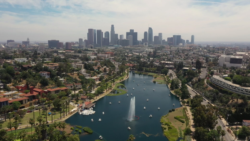 Aerial view of Los Angeles from Echo Park   Shutterstock HD Video #1036769798