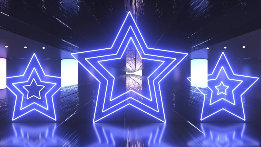 Metal, purple and blue tunnel with neon shape of star. Technology, future and fashion concept with ultraviolet light.  | Shutterstock HD Video #1036829648