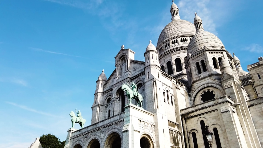 View of world famous Sacre Coeur church fcade at summer, Paris, France | Shutterstock HD Video #1036917398