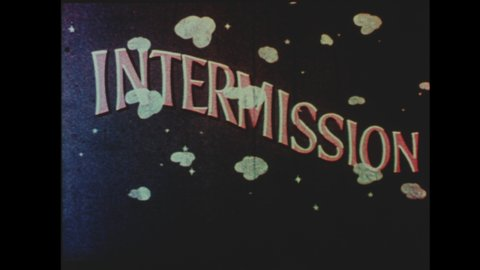 1960s Drive-in Movie Theater Intermission Announcement. Alien Leaves Snack Bar in Flying Saucer. Soda Jerk Declares: They Come From Miles to Enjoy Our Intermission.