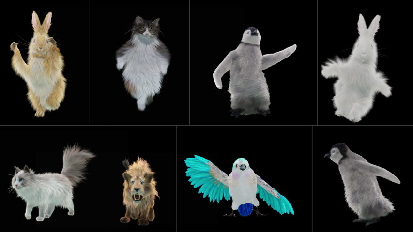 Rabbit cat penguin penguins lion bird Zoo CG fur 3d rendering animal realistic CGI VFX Animation Loop Crowd dance composition 3d mapping cartoon Motion Background,with Alpha Channel | Shutterstock HD Video #1037092808