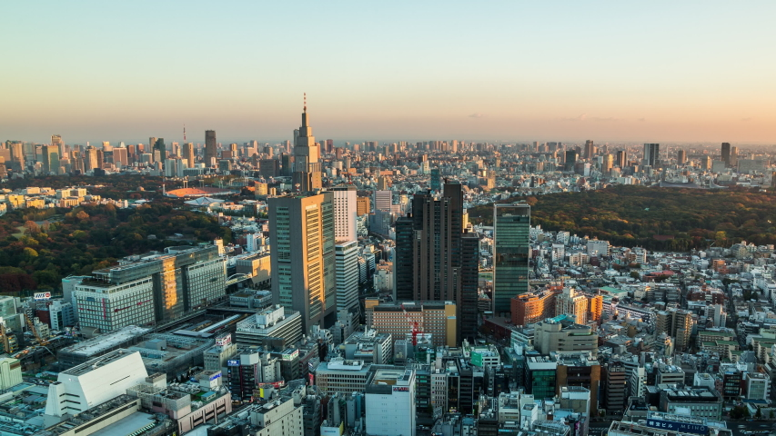Tokyo, Japan - November 20, 2013 : High angle view of Shinjuku station and Shinjuku district time lapse at sunset