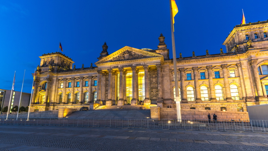 Berlin German Bundestag at night time lapse hyperlapse video, view of Berlin Reichstag building. | Shutterstock HD Video #1037125268