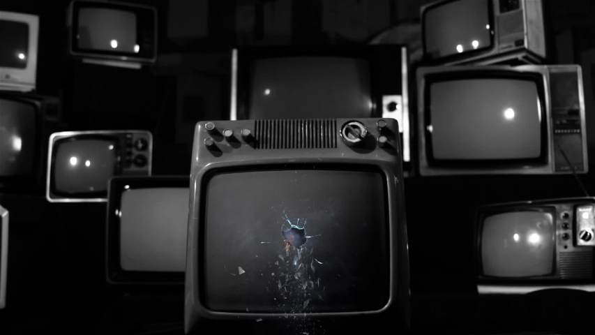 """Retro TV Green Screen Explodes, Broken Screen. Black and White Tone. You can Replace Green Screen with the Footage or Picture you Want with """"Keying"""" effect in AE (check out tutorials on YouTube). 