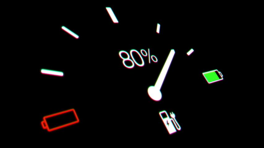Electric Car Battery Gauge. electric car dashboard   Shutterstock HD Video #1037206868