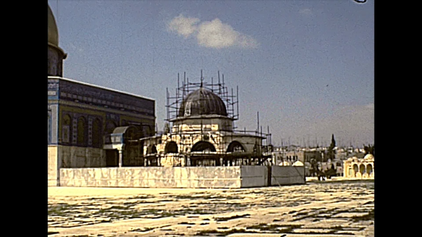 Dome of the Rock and Dome of the Chain, Islamic shrine on the Temple Mount in the Old City of Jerusalem on 70s in Israel. Also called Qubbat As-Sakhrah. Historic archival footage in the 70s in Israel.