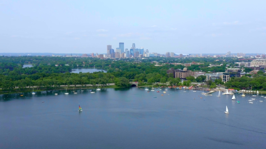 Minneapolis Skyline Over the River, Aerial Drone 4K | Shutterstock HD Video #1037304308
