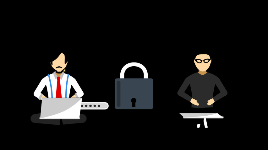 A businessman is working on his laptop and saving valuable information on his laptop. On the other end a hacker has entered has breached the secure system and robbed the information. | Shutterstock HD Video #1037336708