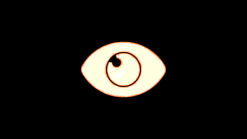 Symbol eye burns out of transparency, then burns again. Alpha channel Premultiplied - Matted with color black | Shutterstock HD Video #1037411258