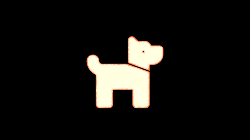 Symbol dog burns out of transparency, then burns again. Alpha channel Premultiplied - Matted with color black | Shutterstock HD Video #1037411288