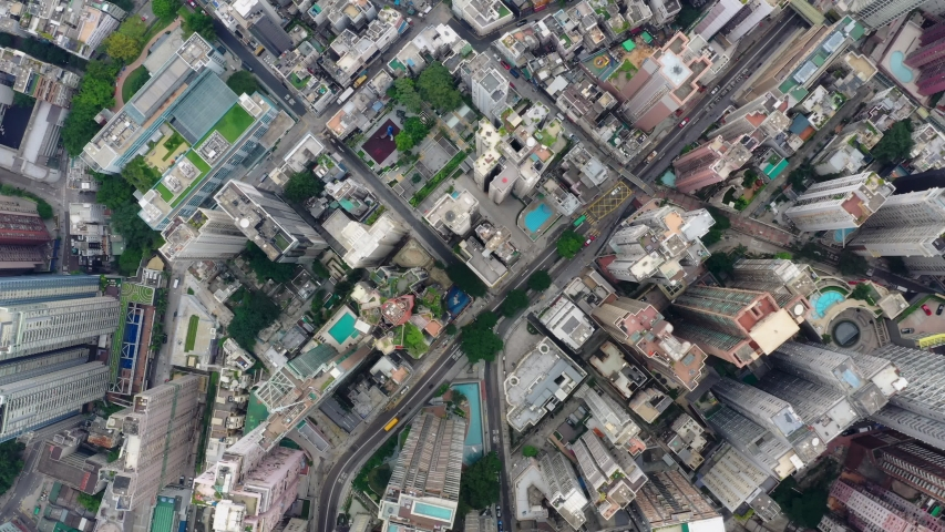 Central, Hong Kong 24 September 2019: Top view of Hong Kong downtown city #1037875958