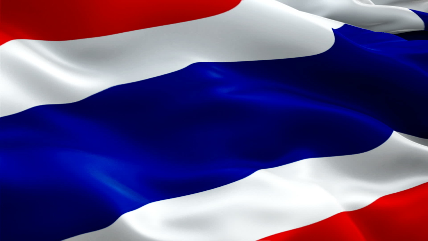 Thailand flag Motion Loop video waving in wind. Realistic Thai Flag background. Thailand Flag Looping Closeup 1080p Full HD 1920X1080 footage. Thailand asia country flags footage video for film,news