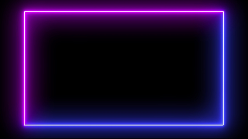 Rectangular frame with moving line. Glowing neon frame animation with purple and blue colors on black background. Fluorescent ultraviolet light. | Shutterstock HD Video #1038111578