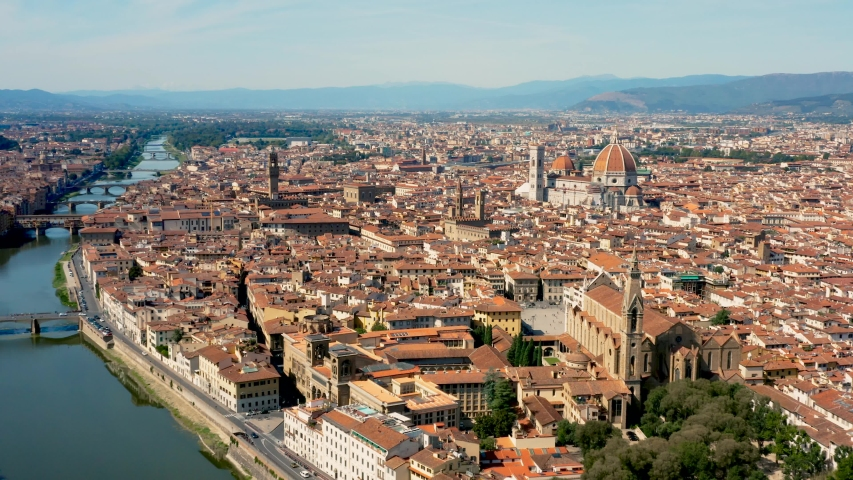 Cityscape of Florence, aerial view | Shutterstock HD Video #1038182858