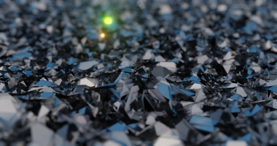 Ocean of shiny diamonds or glass shards waves. 3D render | Shutterstock HD Video #1038231218