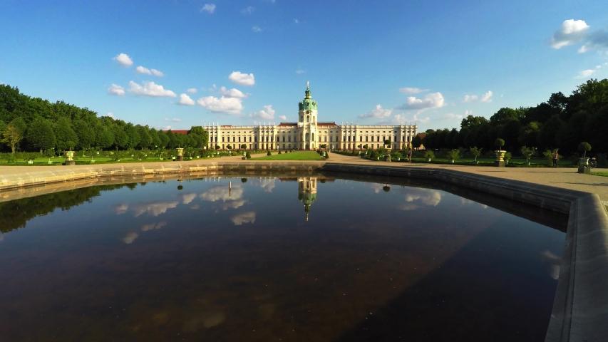 BERLIN, GERMANY - SUMMER 2018: Charlottenburg Palace. Schloss Charlottenburg. Berlin. Germany. Shot in 4K (ultra-high definition (UHD)).