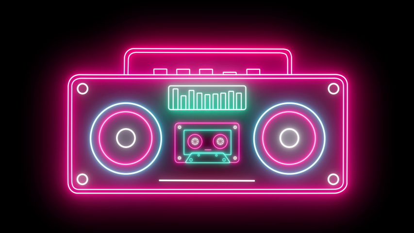 Retro Neon Rradio And Cassette Stereo Recorder Animated On A Black Background. Seamless Loop | Shutterstock HD Video #1038531788