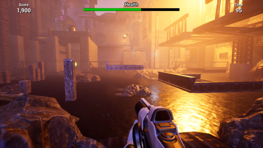 CG imitation of first-person shooter game. Walking through abandoned area, jumping on wooden platform floating above water and striking with gun. Score, health, time indicators are in top of screen | Shutterstock HD Video #1039012478