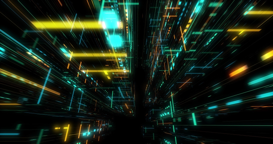 Seamless fly through of abstract circuitry with digital grid background, Data deep learning computer machine. AI artificial intelligence and ML machine learning concept. loop, 3D render | Shutterstock HD Video #1039053188