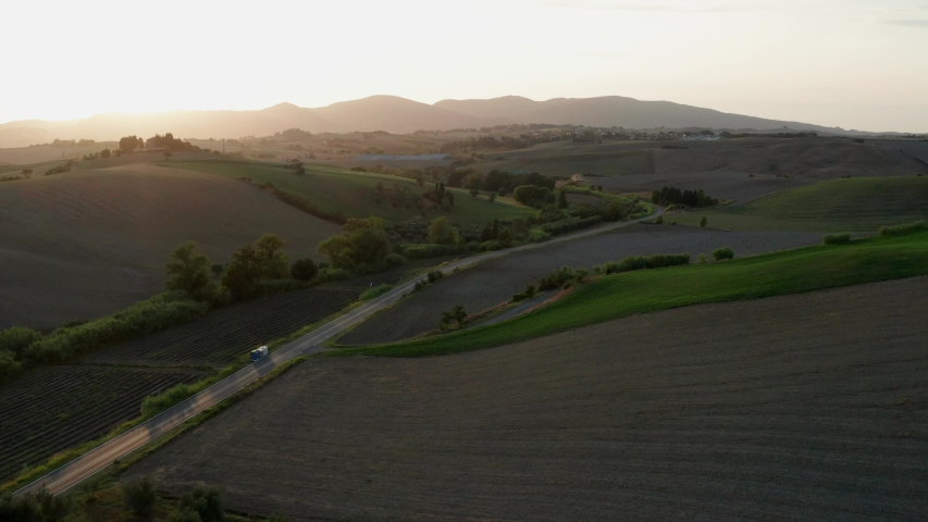 Drone aerial view of countryside in Chianti region, Tuscany, Italy   Shutterstock HD Video #1039196348
