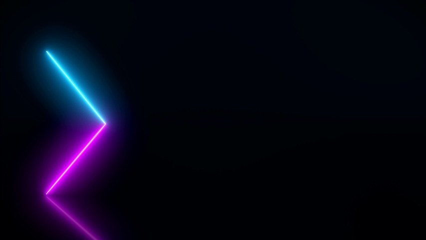 Video animation of glowing neon arrows in blue and magenta on reflecting floor. - Abstract background - laser show #1039243418