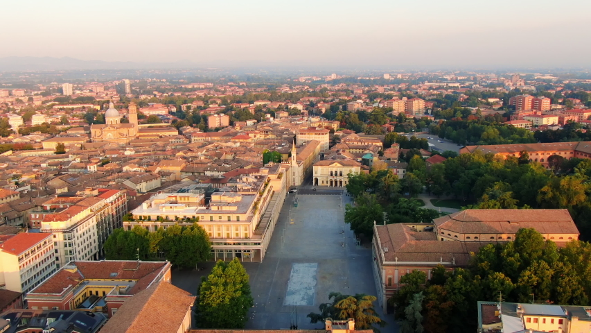 reggio emilia city centre vittoria square aerial view at sunrise #1039476518