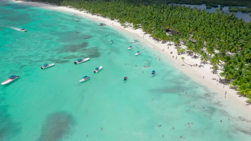 Mexico palms beach resort. Top view beach with palm trees and white sand. Blue sea, boats and palm grove. The best beach in the world. Aerial view tropical island beach background.   Shutterstock HD Video #1039513118