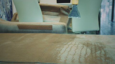Dry cleaning worker spraying a cleaner onto a sofa. dry cleaning worker  removing dirt from sofa indoors