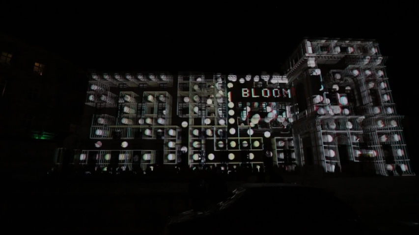 PRAGUE, CZ - OCTOBER 11, 2019: 3D Videomapping R.Evolution by SKILZ studio from Kiev on the Tyrsuv Dum (Tyrs house) at the Prague Signal light festival 2019 #1039757198