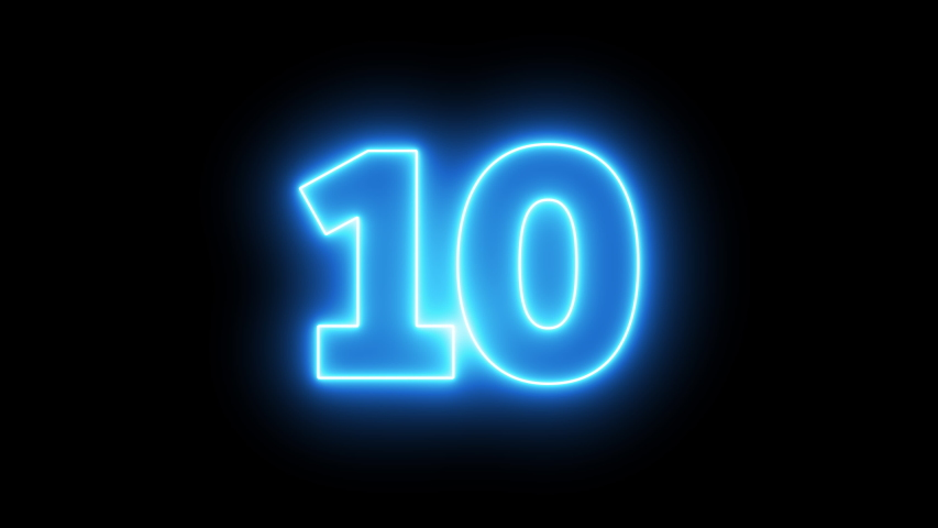 Neon bright glowing countdown timer from 10 to 0 seconds | Shutterstock HD Video #1039788188