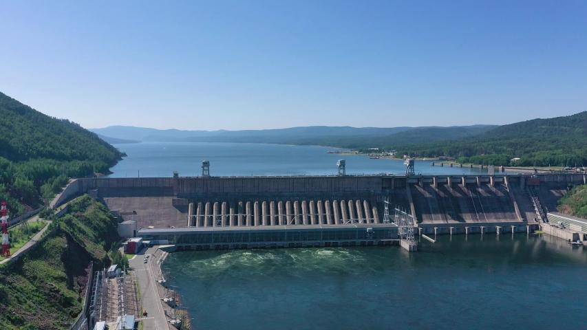 Hydroelectric dam view, aerial shot   Shutterstock HD Video #1039956128