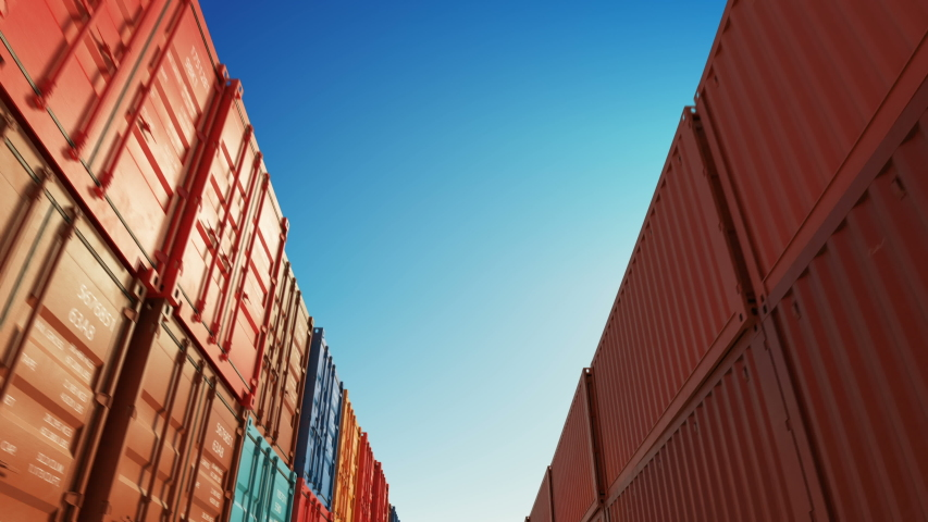 Moving Through the Rows of Cargo Shipping Metal Containers in Warehouse Seamless. Beautiful Looped 3d Animation of Endless Abstract Container Boxes. 4k Ultra HD 3840x2160. | Shutterstock HD Video #1039984088
