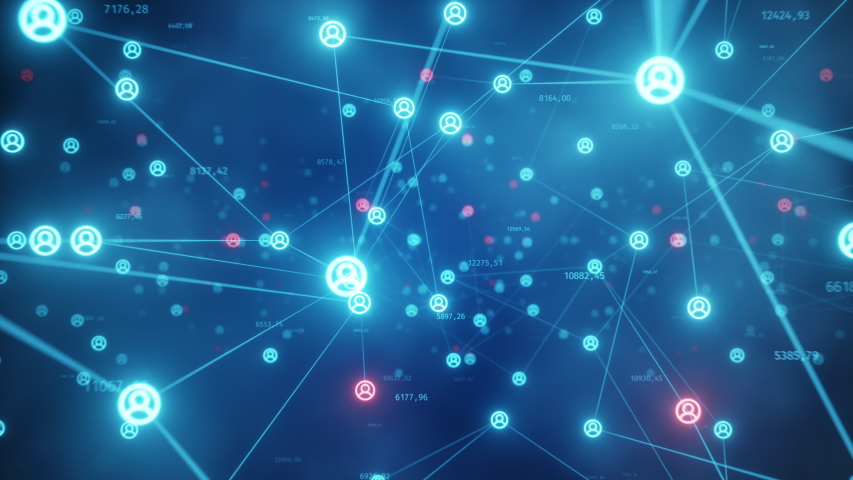 The blacklist concept of connecting people to the Internet, converting nodes. Flight of the camera in a technological abstract space. Social networks. Seamless loop 4k cg animation. | Shutterstock HD Video #1040545658