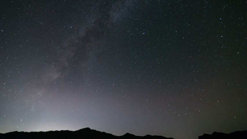 Astro timelapse of Milky Way galaxy over mountains in desert in Nevada