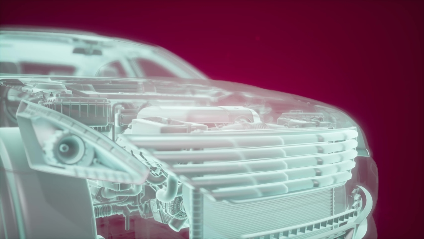 Holographic animation of 3D wireframe car model with engine and otter technical parts | Shutterstock HD Video #1040669978