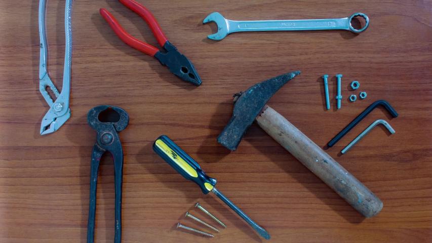 Work tools appear in stop motion | Shutterstock HD Video #1040675888