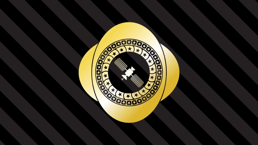 Satelite icon inside gold shiny badge rotary trend, conceptual stylized, top animation | Shutterstock HD Video #1040691878