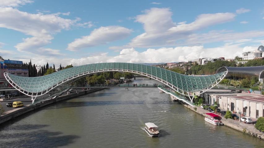 Aerial view of Bridge of Peace. Tbilisi. Georgia 2019 October | Shutterstock HD Video #1040848868