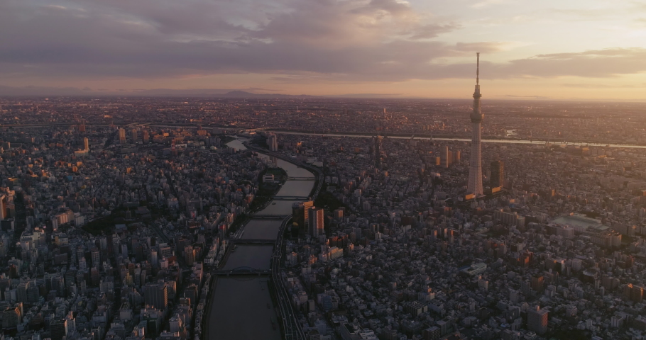 Aerial shot of Skytree and Tokyo cityscape at dawn, Japan | Shutterstock HD Video #1040929508