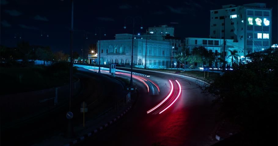 Night Traffic near Havana Tunnel Entrance Long Exposure Time Lapse, Havana, Cuba