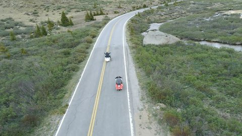 aerial view of harley motorcycle riders riding past