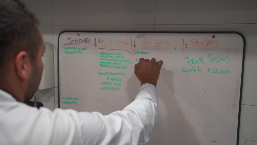 Man writing notes on a board in a restaurant kitchen | Shutterstock HD Video #1040961668